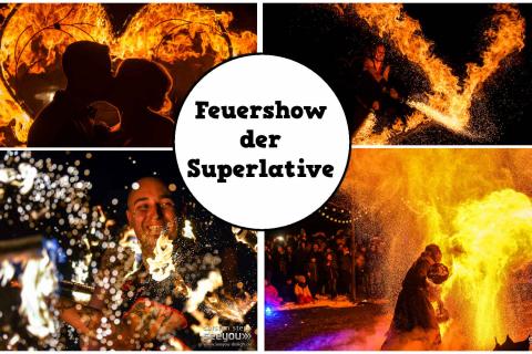 Feuershow-collage-feurige-Feuerspucker